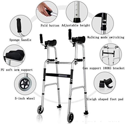 Ouderen walker Lichtgewicht Travel Walker met Knee Support, Ultra Mobility Aid Vier Wielen, Drive Medical Rollator Rollator hoogte verstelbaar, de meest geschikte Gift, Silver revalidatie walker
