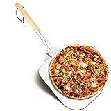 EKKONG Pala para Pizza, Palas para Pizzas Profesional, Pala de Aluminio para Pizza Desmontable, Mango Largo de Madera, Utilizado en el Horno, Pizza Horneada a Mano y Tostadas 66x30,5cm