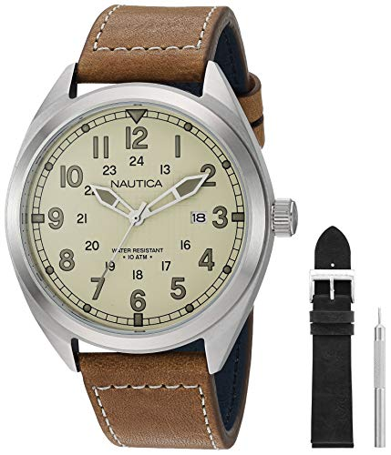 Nautica Watch Battery Park Collection NAPBTP009 24 Hour Time, Water Resistant, Arabic Numerals, Brown