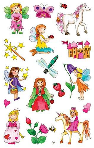 AVERY Zweckform 53208 Kinder Papier-Sticker Fee, Prinzessin, Einhorn 34 Aufkleber (für Mädchen, Kindergeburtstag, Mitgebsel, Gastgeschenk, Schatzsuche, zum Spielen, Sammeln, Basteln, Verschenken)