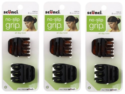 Scunci No-Slip Grip Jaw Clips, 3.5cm, 6 Count