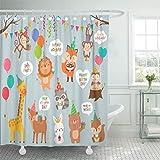 N\A Cortina de baño Impermeable Baño Decoración para el hogar Selva de Dibujos Animados Lindos Animales Salvajes Diseño de cumpleaños Mono Fiesta Globo Bosque Tela de poliéster Ganchos Ajustables Set