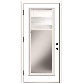 National Door Company Zz364940r Primed Right Hand Outswing Prehung Front Door Full Lite Clear Low E Glass Internal Blinds 30 X 80 Steel Amazon Com Industrial Scientific