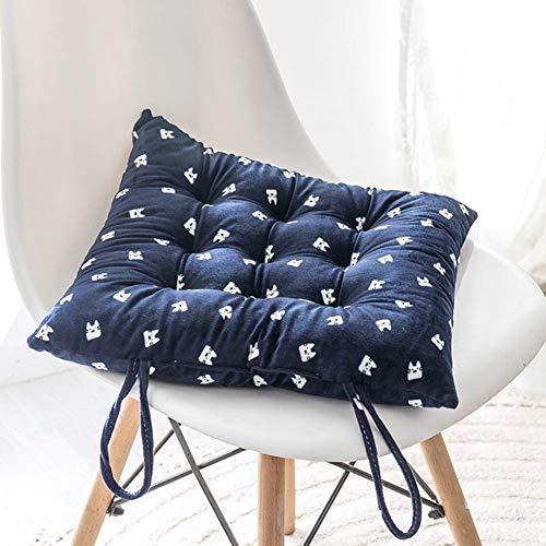 DBWIN Almohadillas de Silla de Terciopelo Suave, Almohada Transpirable cómoda, Relleno de algodón Grueso Relleno de Asiento Mullido para jardín de Oficina Azul 35x35 cm (14x14 Pulgadas)