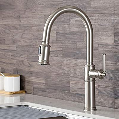 Kraus KPF-1682SFS Sellette Single Handle Pull-Down Kitchen Faucet, Traditional Style Spot Free Stainless Steel