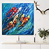 Wall Art Picture Traditional Chinese Abstract Painting Colorful Koi Fish Canvas Prints for Living Room Decor 50X60CM