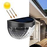 Zonkestarソーラーフェンスライト、屋外LEDソーラーライト、LEDソーラーガーデンライト、IP65防水ソーラーライト、ワイヤレス屋外照明用ガーデン、フェンス、テラス、デッキ 2枚