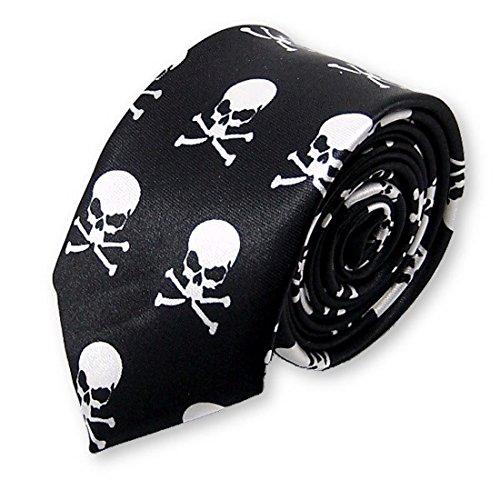 cravate slim fantaisie pirate, tête de mort