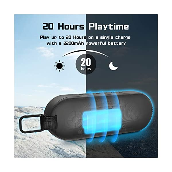 Durable Bluetooth Speaker, Portable Outdoor Wireless with Hi-Fi Stereo Sound and Rich Bass, 20-Hour Playtime, Built-in Mic AUX & SD Input for iPhone Samsung PC, IPX6 Waterproof Black 5