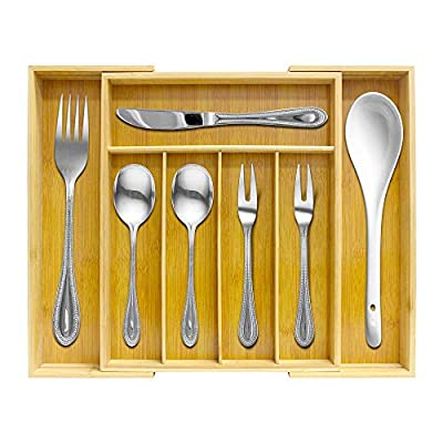 Growsun Natural Bamboo Drawer Organizer Utensil Expandable Kitchen Cutlery Utility Tray