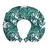 ABAKUHAUS Botánico Cojín de Viaje para Soporte de Cuello, Estilo Art Deco Art Curvy, Cómoda y Práctica Funda Removible Lavable, 30x30 cm, Mar Azul y Verde de Jade