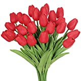 huaao 24pcs Flores Tulipanes Artificiales en látex, Plantas Artificiales Falsos Tacto Realista arreglos Florales decoración para hogar, casa, Oficina, Sala, Banquete Boda Nupcial, Fiestas (Rojo)