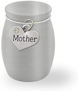 Small Mini Mother Mom Memorial Ashes Holder Container Jar Vial Brushed Stainless Steel Cremation Funeral Urn