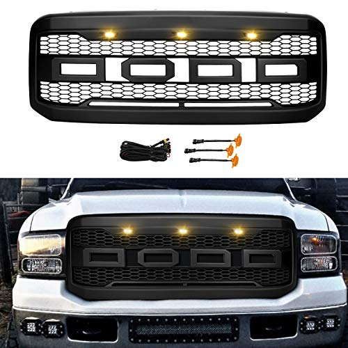 Front Grill for Ford F250/F350 2005 2006 2007, Grille Replacement Amber LED Lights Included, Raptor Style Grill (Matte Black)