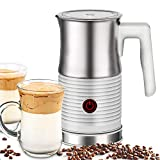 HUOGARY Milk Frother, Milk Steamer for Milk Foam & Hot Milk(4.5oz/10.5oz), Electric Milk Frother and Warmer for Homemade Coffee, Creamy and Richness Texture, Easy to Clean, Comes With Foam Whisk and Hot Milk Whisk
