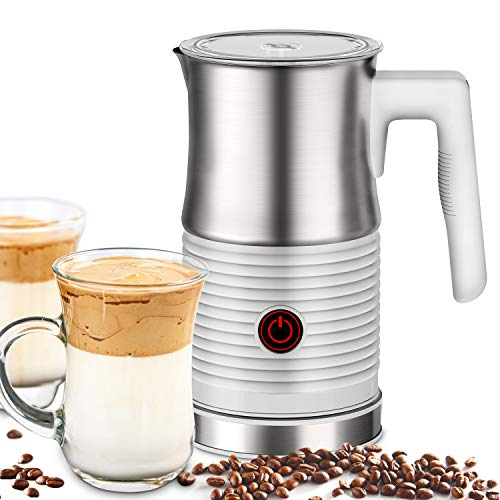 Milk Frother, Huogary Electric Stainless Steel Milk Steamer and Frother with Hot or Cold Milk Foam, Automatic Milk Warmer
