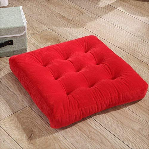 YAYY Chair cushion Solid color square seat cushion soft thickened velvet for yoga filled floor cushion for home office car -navy 45x45cm (18x18 inch)-Red_40x40cm(16x16inch) Upgrade