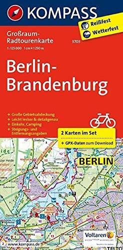 Berlin-Brandenburg: Großraum-Radtourenkarte 1:125000, GPX-Daten zum Download (KOMPASS-Großraum-Radtourenkarte, Band 3703)