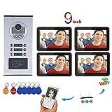 Timbre de Video Wifi, 4 Apartamentos con Sistema de Intercomunicador de Teléfono Videoportero Inalámbrico a prueba de...