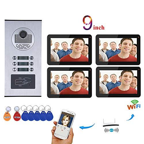 Great Price! 4 Apartments Wifi Video Doorbell, Waterproof Door Phone Intercom System, 4 Monitors 9 i...