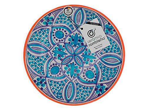CERÁMICA RAMBLEÑA - Piatto decorativo da appendere alla parete, in ceramica, colore: rosso blu, 100% fatto a mano, 27 x 27 x 4,5 cm