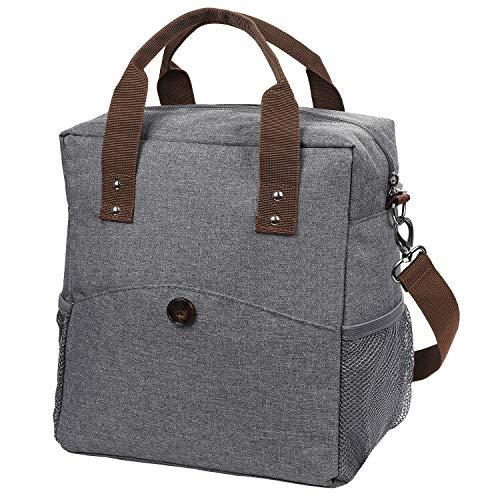 Anpro 12L Lunch Tasche, Kühltasche Lunch Bag Picknicktasche Mittagessen Tasche Wasserdicht für Arbeit, Schule, Ausflug Lebensmitteltransport,Grau