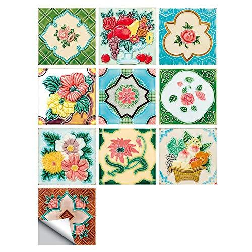 Sicond DIY Pegatinas de Pared con Estampado de Mosaico, Pegatinas Decorativas de PVC a Prueba de Aceite y Agua para Cocina y baño (30 * 30 cm × 10 Piezas)