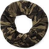 styleBREAKER Loop Schal mit Camouflage Muster, Schlauchschal, Tuch, Unisex 01017069, Farbe:Oliv