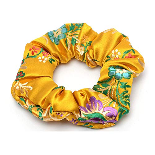 OULN1Y Bandeaux 2019 New Flower Embroidered Satin Silk Brocade Scrunchies Lady Hair Accessories Hair Ties for Women Fashion Accessories,Gold