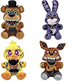 4pcs Five Nights at Freddy's Plushies, Nightmare FNAF Foxy Plush, Springtrap Plush, Chica Plush - Five Nights at Freddy's Party Supplies Birthday Gift for Kids