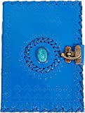 TUZECH Leather Journal for Men and Women Leather Diary to Write Poems,Sketchbook, Record Keeping Notebook Personal Memoir with C- Lock Unlined (7 Inches) (Blue)