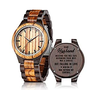 Personalized Engraved Wooden Watches – Custom Anniversary Birthday Wood Watches for Men Husband Boyfriend Dad Him Son