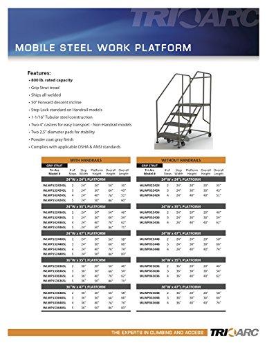 Tri-Arc WLWP032436 3-Step Forward Descent Mobile Steel Work Platform, 24-Inch x 36-Inch Platform