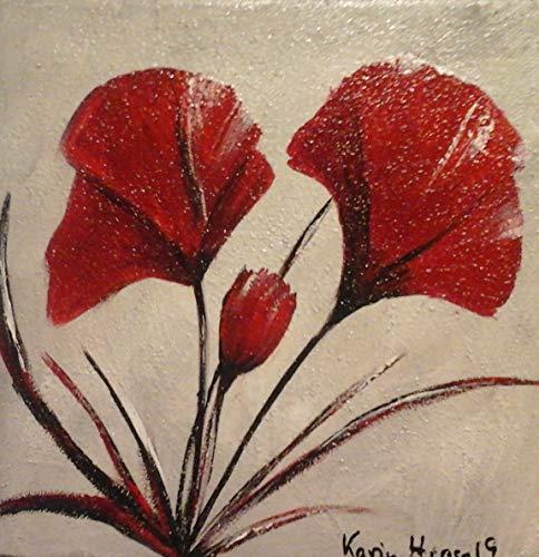 Atelier Karin Haase zeitgenössische moderne Malerei Mohnblume Wand Bild Unikat Acryl auf Leinwand Hand gemalt