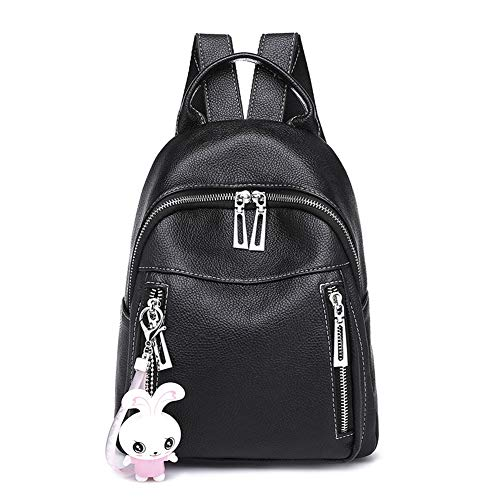 Women's wallet, ladies backpack, casual backpack, small PU bag, lightweight, fashion, school backpack, casual travel backpack, pink lady - Black -