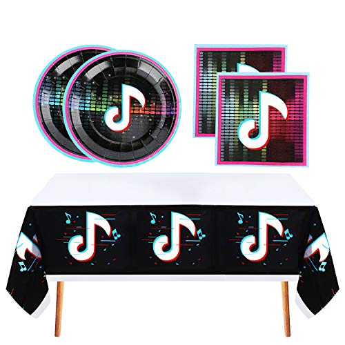 Tik Tok Party Supplies Set for 16 Guests,Tik Tok Party Plates Napkins and Plastic Tablecloth Set,for Tik Tok Music Theme Birthday Party Decorations,Disposable Paper Tableware Set,Tik Tok Table Cover,Plates and Napkins for Kids Children or Adults.