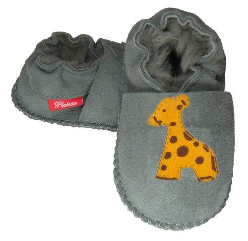 Plateau Tibet - Chaussons Chaussures bébé Fille garçon Cuir Souples - Gris, Girafe, 22/23