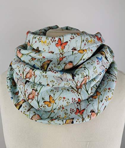 Loop Schal mit Blumen, Schmetterlingen und Vögeln aus luftigen Musselin Double Gaze Baumwollstoff- Handmade