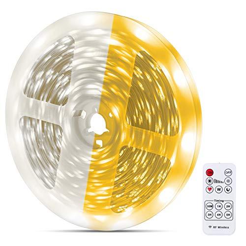 Dimbar LED-remsa varm vit 10 m, MMcRRx LED remsats varm vit 3 000 k & kall vit 6 000 k gör-det-själv LED-ränder med självhäftande för kök, skåp, vardagsrum, vitrinskåp