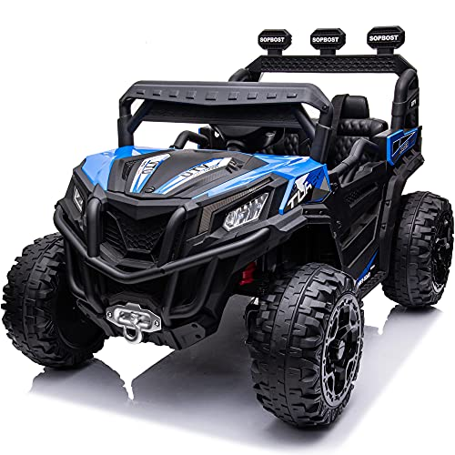sopbost 4WD Ride On Car for Kids Ride On Truck with Parental Remote Control 12V Electric Motorized Off-Road UTV Single Seater Ride On Toy for Toddlers Boys Girls, Blue