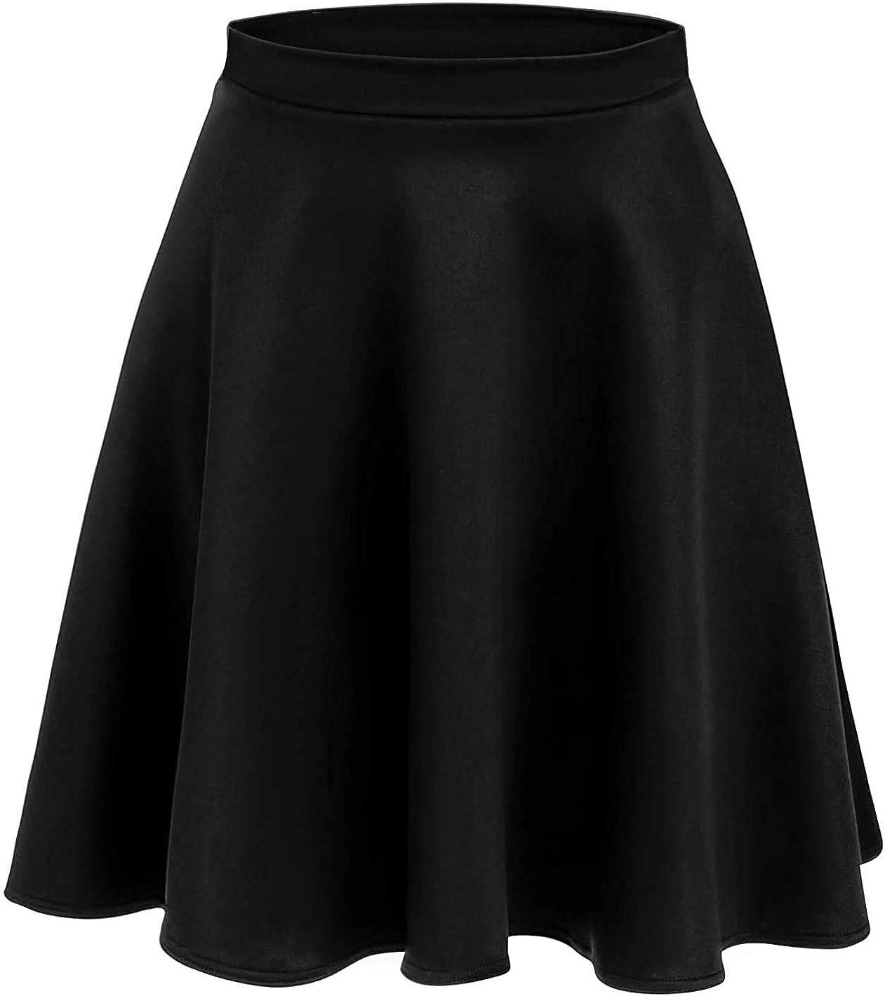 Loxdonz Women's Casual Stretchy Waist Flared Pleated Mini Skater Skirt