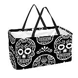Bolsa de supermercado reutilizable Contenedores de almacenamiento grandes de 50L Cesta de compras Bolsas de asas Skull Vector Black