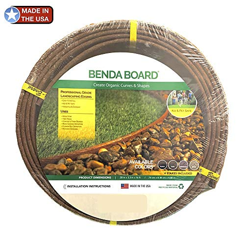 """One Stop Outdoor USA Made - Heavy Duty Landscape Edging, Garden Planter & Pathway Bender Board Edge Border Kit - Thick Pro-Grade Style Terrace Board 3.3"""" H x 16'ft L - Includes 4 Stakes Color: Brown"""
