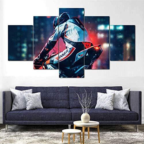 wodclockyui 5 Piezas Cuadro de Lienzo - Moto Ducati Rider Moto Pintura 5 Impresiones de imágenes Decoración de Pared para el hogar Pinturas y Carteles de Arte HD 200cmx100cm sin