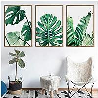 キャンバス絵画、LaminasDecorativasペアリングポスター壁アートプリント装飾リビングルーム用緑の植物フレームなし