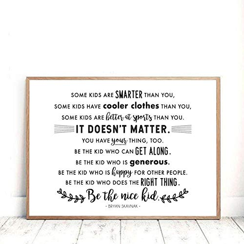 Be The Nice Kid Quotes Wall Art Painting Black White Minimalist Canvas Art Prints Classroom Motivational Posters Picture for Kids Room Decor 60x90cmx1 Sin Marco