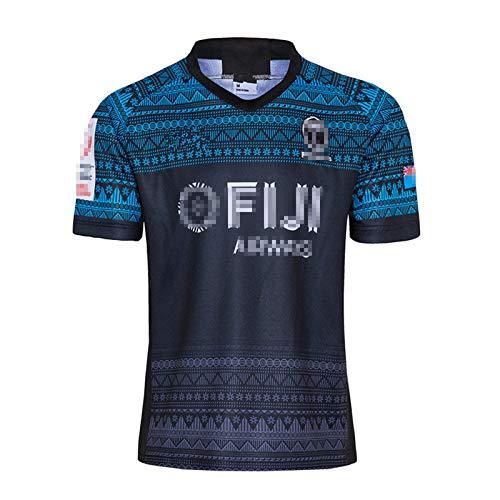 WEIXIA Camiseta de rugby de manga corta para rugby de Fijian, color azul, talla S