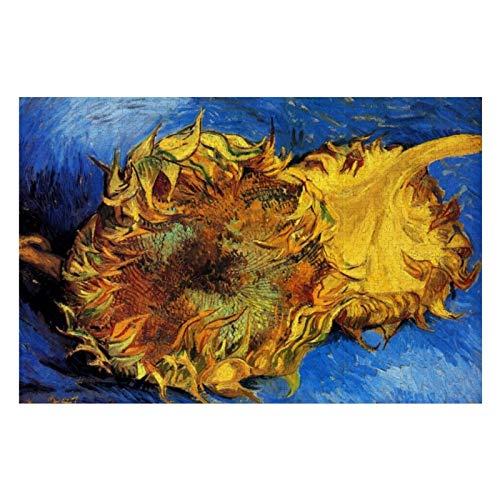 Van Gogh - Puzzles de girasoles de dos cortes para adultos, 500 piezas para niños, juguetes de regalo para niños y niñas, 38 x 50 cm