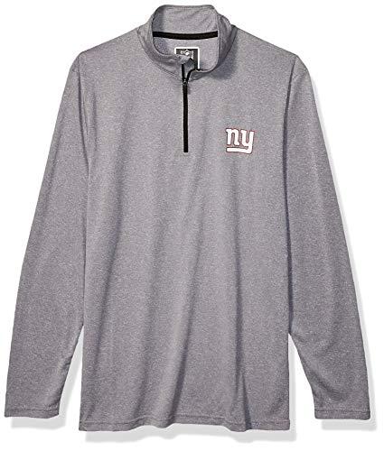 Ultra Game Mens NFL Moisture Wicking Soft Quarter Zip Long Sleeve Tee Shirt, New York Giants, Heather Gray, Large