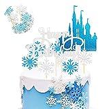 Pastel Toppers - SUNSK Happy Birthday Torta Primeros copos de nieve cumpleaños fiesta Decoración Plata Azul Castillo Pastel Adorno Cake Topper 42 Piezas